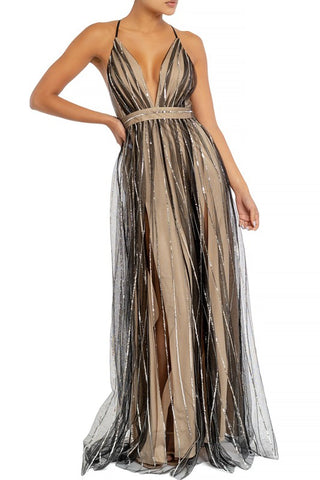 Elegant Black Nude Silver Sequence Glitter Strap Deep V-Neck Gown