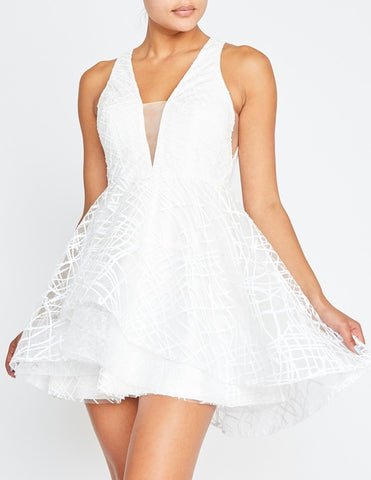 Elegant White Glitter Layered Ruffle Dress