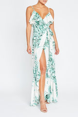 Elegant White Green Tropcal Print Wrap Ruffle Strap Maxi Dress