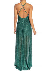 Elegant Green Sequence Strap Deep V-Neck Gown
