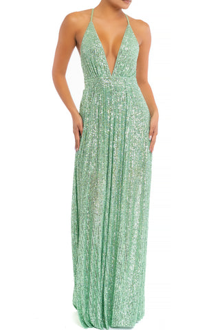 Elegant Mint Sequence Strap Deep V-Neck Gown