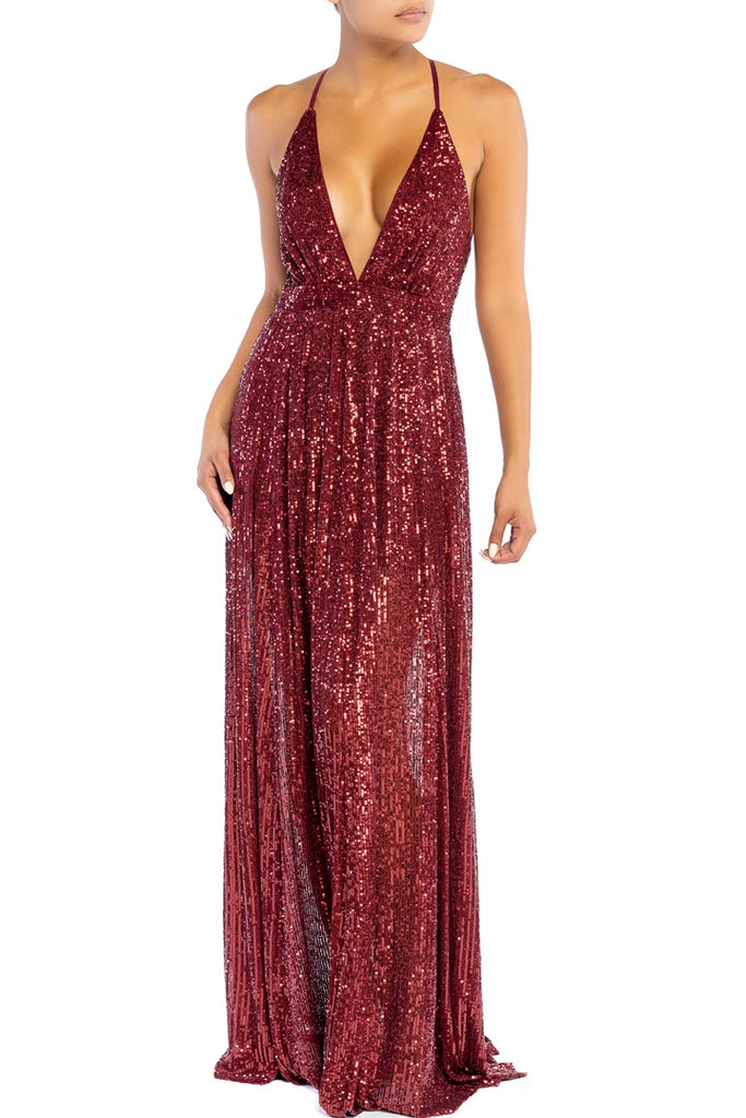 Elegant Wine Sequence Strap Deep V-Neck Gown
