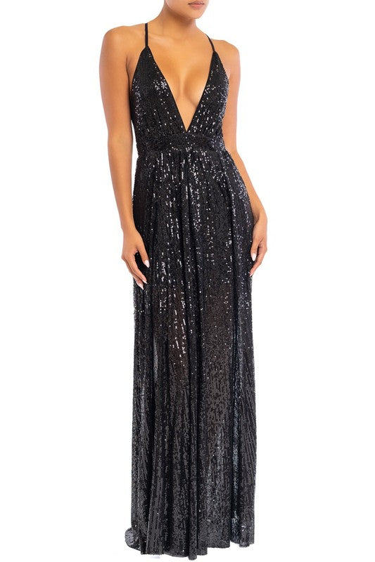 Elegant Black Sequence Strap Deep V-Neck Gown