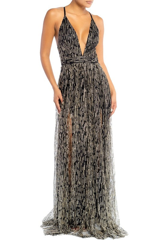 Elegant Black Gold Glitter Strap Deep V-Neck Gown