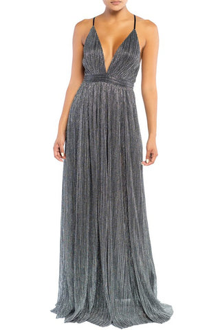 Elegant Black Silver Textured Detailed Strap Deep V-Neck Gown