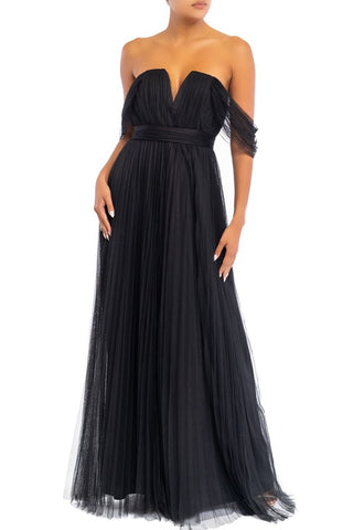 Elegant Cocktail Off Shoulder V-Neck Black Gown