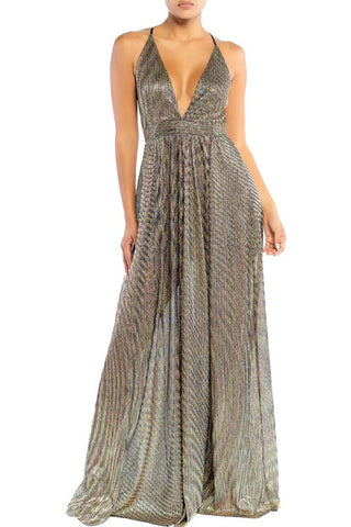 Elegant Black Gold Multi-Color Textured Detailed Strap Deep V-Neck Gown