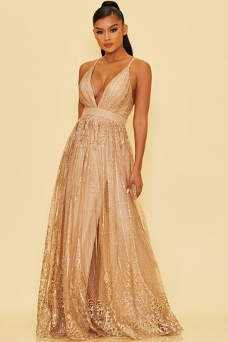 Elegant Rose Gold Sequence Glitter Baroque Strap Deep V-Neck Gown