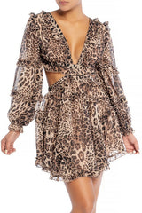 Elegant Leopard Print V-Neck Ruffle Cut-Out Back Tie-Up Dress with Long Sleeve