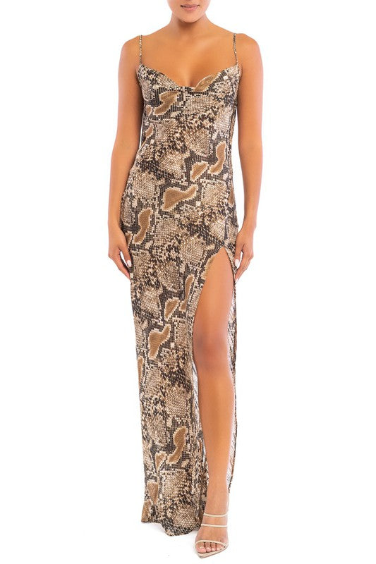 Fashion Strap Multi-Color Animal Print Open Back Maxi Dress with Slit