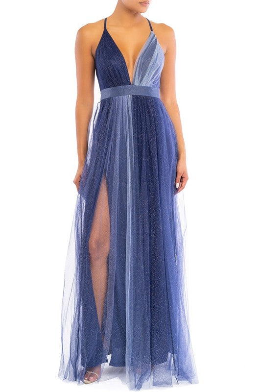 Elegant Navy Silver Glitter Strap Deep V-Neck Maxi Dress