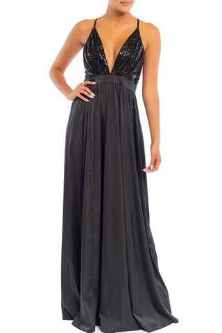 Elegant Black Sequence Strap Deep V-Neck Satin Maxi Dress
