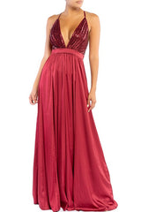 Elegant Wine Sequence Strap Deep V-Neck Satin Maxi Dress