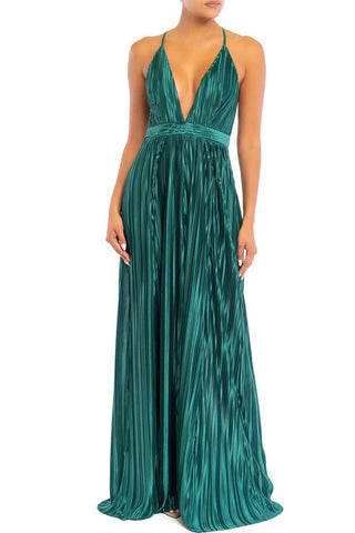Elegant Hunter Green Pleated Detailed Strap Deep V-Neck Satin Maxi Dress