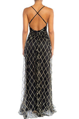 Elegant Black Gold Geometric Glitter Strap Deep V-Neck Gown