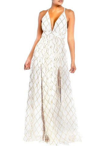 Elegant White Gold Geometric Glitter Strap Deep V-Neck Gown