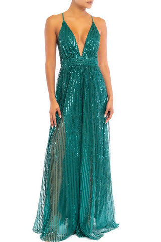 Elegant Hunter Green Sequence Striped Detailed Strap Deep V-Neck Gown
