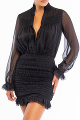 Elegant Black Button Down Elastic Ruffle Dress with Long Sleeve