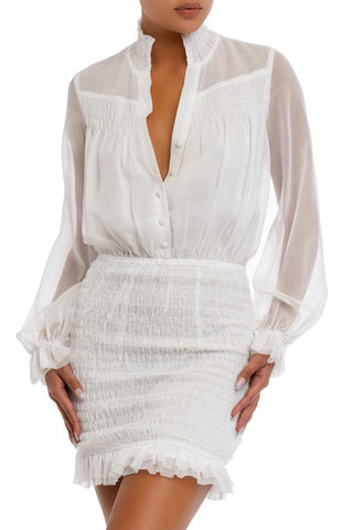 Elegant White Button Down Elastic Ruffle Dress with Long Sleeve
