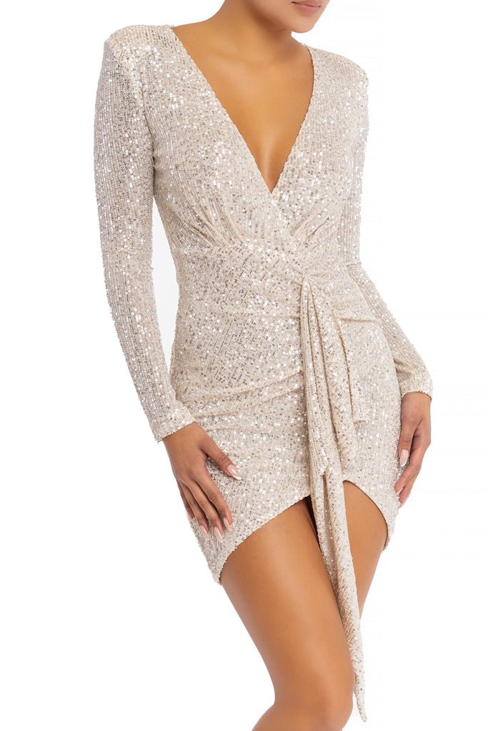 Elegant Nude Silver Sequence Deep V-Neck Wrap Tie-Up Dress with Long Sleeve