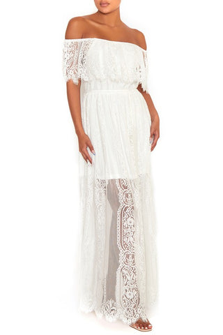 Elegant Off Shoulder White Lace Detailed Maxi Dress