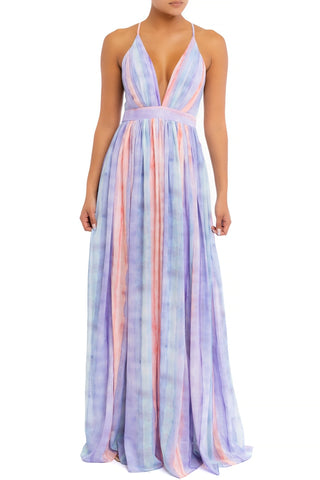 Elegant Lilac Pastel Watercolor Strap Deep V-Neck Maxi Dress