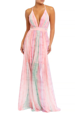 Elegant Pink Green Pastel Watercolor Strap Deep V-Neck Maxi Dress