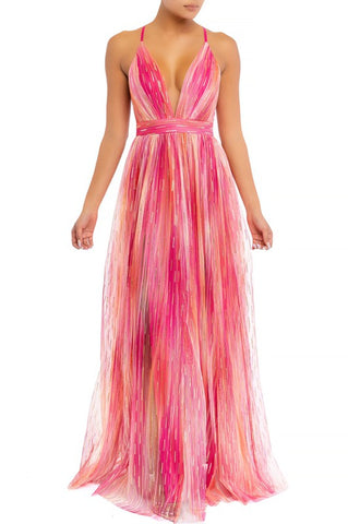 Elegant Fuchsia Multi-Color Gold Detailed Strap Deep V-Neck Maxi Dress
