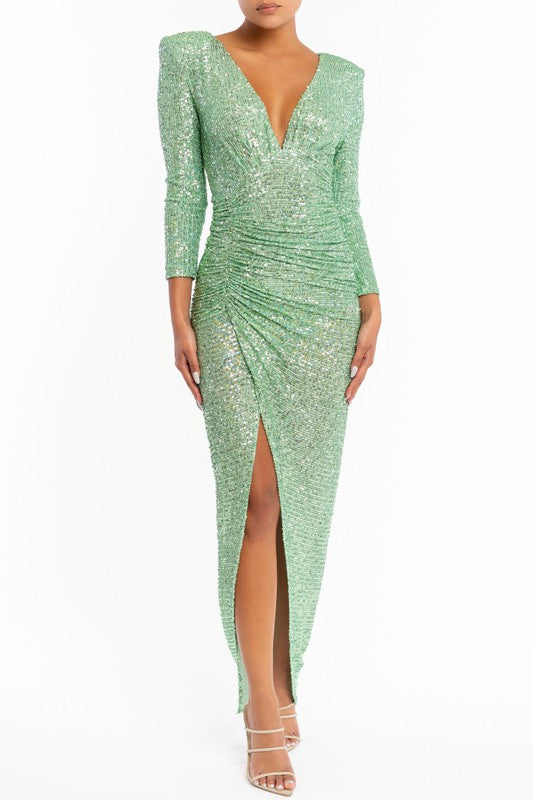 Elegant Mint Sequence Deep V-Neck Ruched Maxi Dress with Long Sleeve