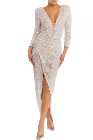 Elegant Nude Silver Sequence Deep V-Neck Ruched Maxi Dress with Long Sleeve