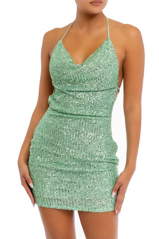 Fashion Strap V-Neck Mint Multi-Color Sequence Open Back Tie-Up Dress