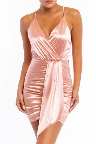 Elegant Strap Mauve Satin Deep V-Neck Tie-Up Dress