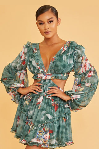 Elegant Hunter Green Multi-Color Floral Print V-Neck Ruffle Cut-Out Back Tie-Up Dress with Long Sleeve