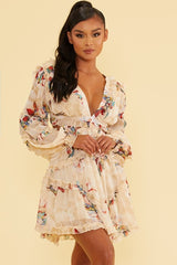 Elegant Ivory Multi-Color Floral Print V-Neck Ruffle Cut-Out Back Tie-Up Dress with Long Sleeve