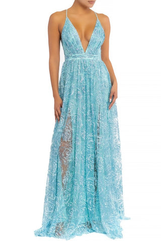 Elegant Light Blue Multi-Color Floral Sequence Glitter Strap Deep V-Neck Gown