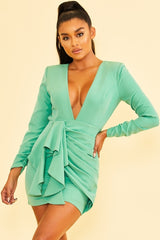 Elegant Light Green Deep V-Neck Ruffle Tie-Up Open Back Dress with Long Sleeve