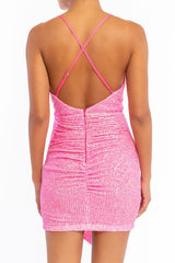 Elegant Strap Neon Pink Sequence Deep V-Neck Tie-Up Dress