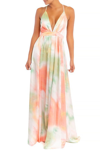 Elegant Orange Green Pastel Watercolor Satin Strap Deep V-Neck Maxi Dress