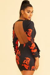 Elegant Black Red Floral Print Deep V-Neck Ruffle Tie-Up Open Back Dress with Long Sleeve