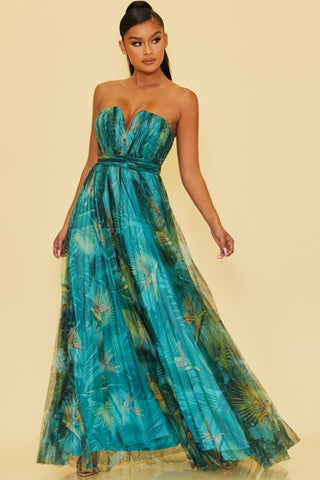 Elegant Strapless Blue Green Tropical Print Pleated Maxi Dress