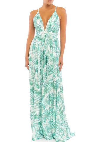 Fashion White Green Palm Print Ruffle V-Neck Strap Maxi Dress