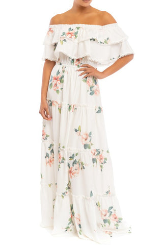 Elegant White Multi-Color Floral Print Off Shoulder Ruffle Tassel Maxi Dress