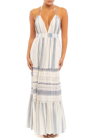 Fashion Summer Blue Marine Ruffle Halter V-Neck Maxi Dress