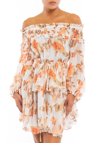 Elegant White Multi-Color Floral Print Off Shoulder Ruffle Dress with Bell Sleeve