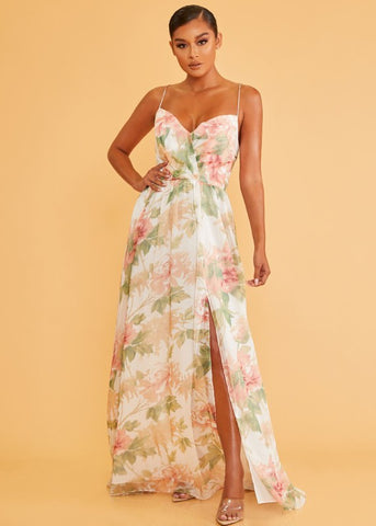 Elegant Strap White Multi-Color Floral Print Lace-Up Back Maxi Dress