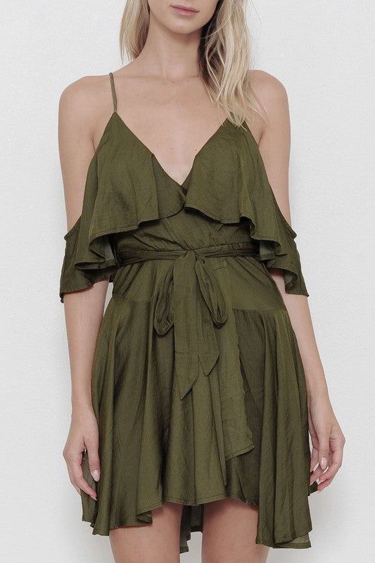 Fashion Off Shoulder Ruffle Olive Dress