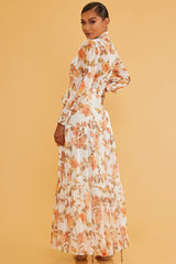Elegant White Multi-Color Floral Print Button Down Tie-Up Ruffle Maxi Dress with Long Sleeve