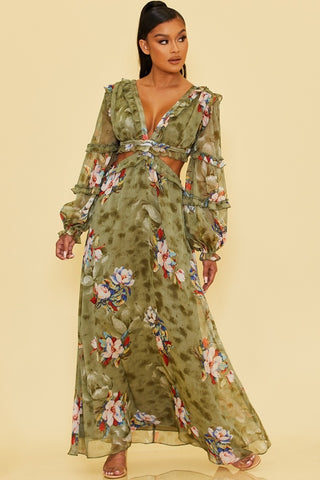 Elegant Olive Multi-Color Floral Print V-Neck Ruffle Cut-Out Back Tie-Up Maxi Dress with Long Sleeve