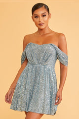Elegant Cocktail Off Shoulder V-Neck Slate Blue Sequence Dress