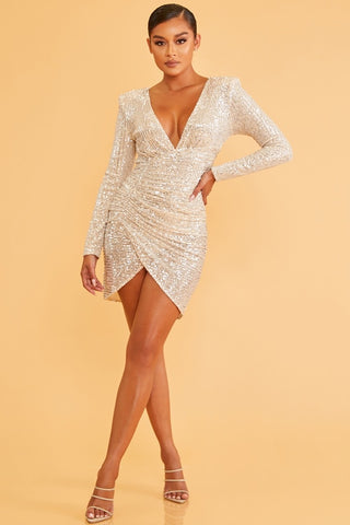 Elegant Nude Silver Sequence Deep V-Neck Ruched Dress with Long Sleeve